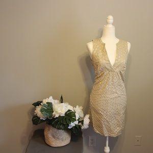 Michael Kors Gold Lace Overlay Sleeveless Dress